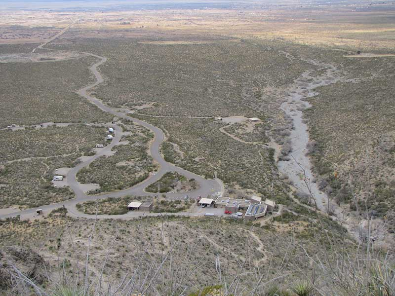 Looking Down at the Oliver Lee State Park Campground