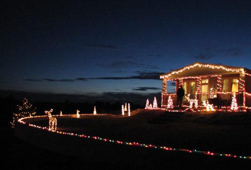 Holiday lights at dusk