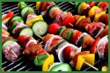 grilling veggies and meat