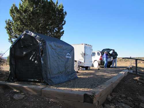 Bandanna Dan's cook tent, trailer, and SUV